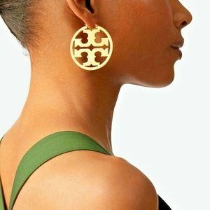 New Tory Burch Large 16K Miller Hoop Earrings